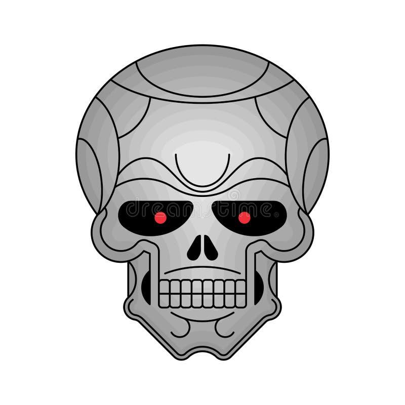 被隔绝的金属头骨 铁头骨骼 也corel凹道例证向量 向量例证