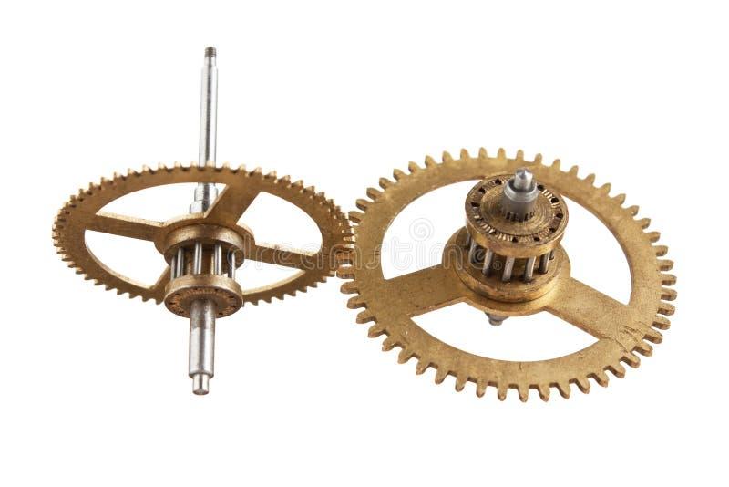 被隔绝的钟表机构齿轮 免版税库存照片