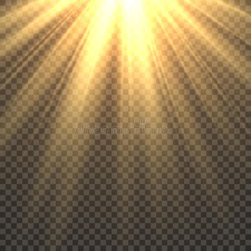 被隔绝的阳光 太阳光线影响金黄太阳光芒发光 黄色明亮的射线火热的日落阳光例证 皇族释放例证