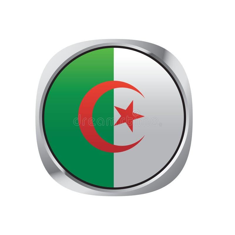 被隔绝的阿尔及利亚旗子传染媒介按钮 向量例证