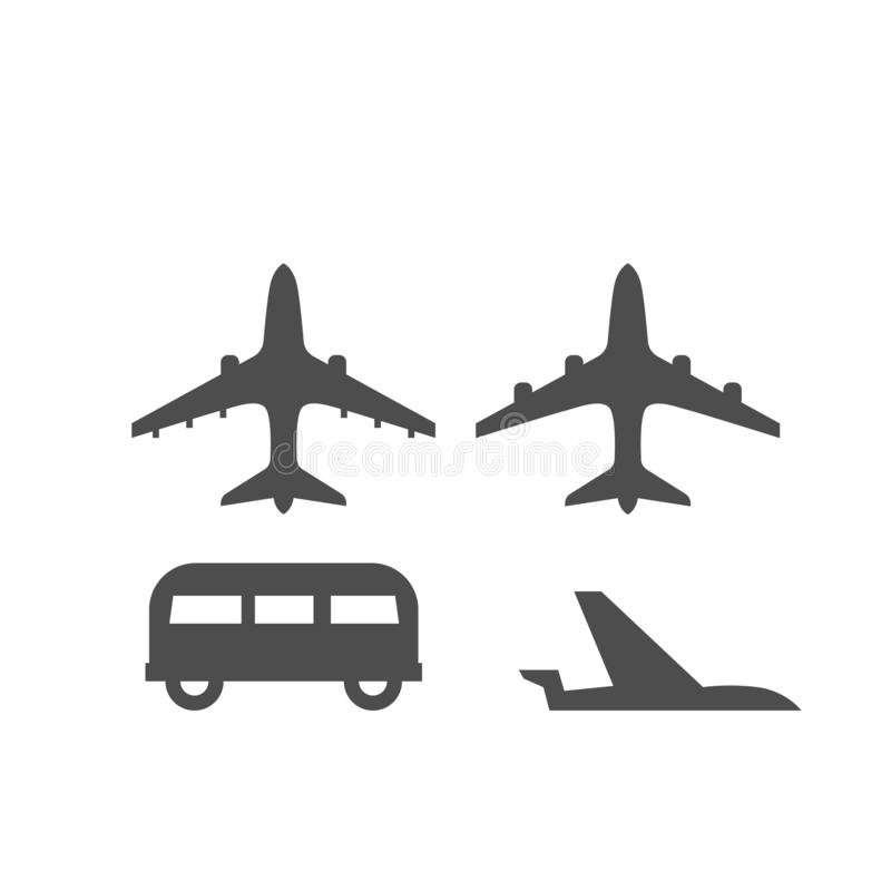被隔绝的飞机用不同的位置和公共汽车的平的地图标志在白色背景 皇族释放例证