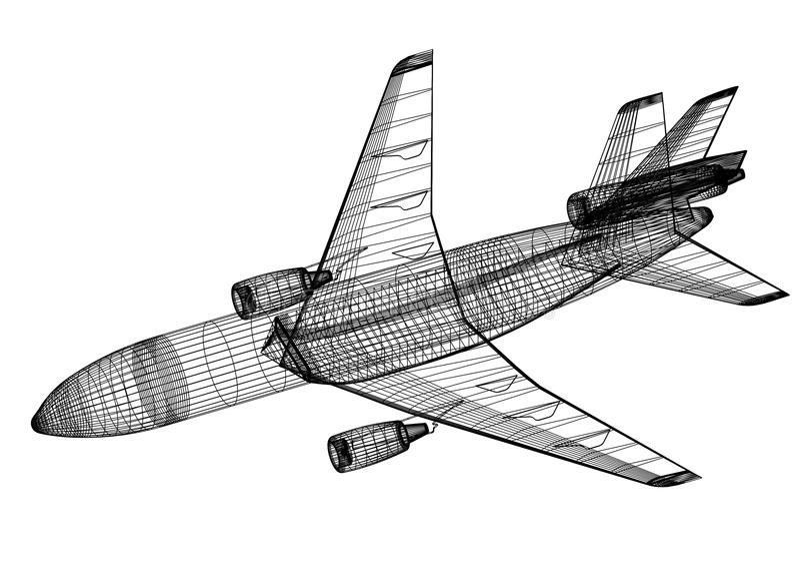-被隔绝的飞机3D图纸 向量例证