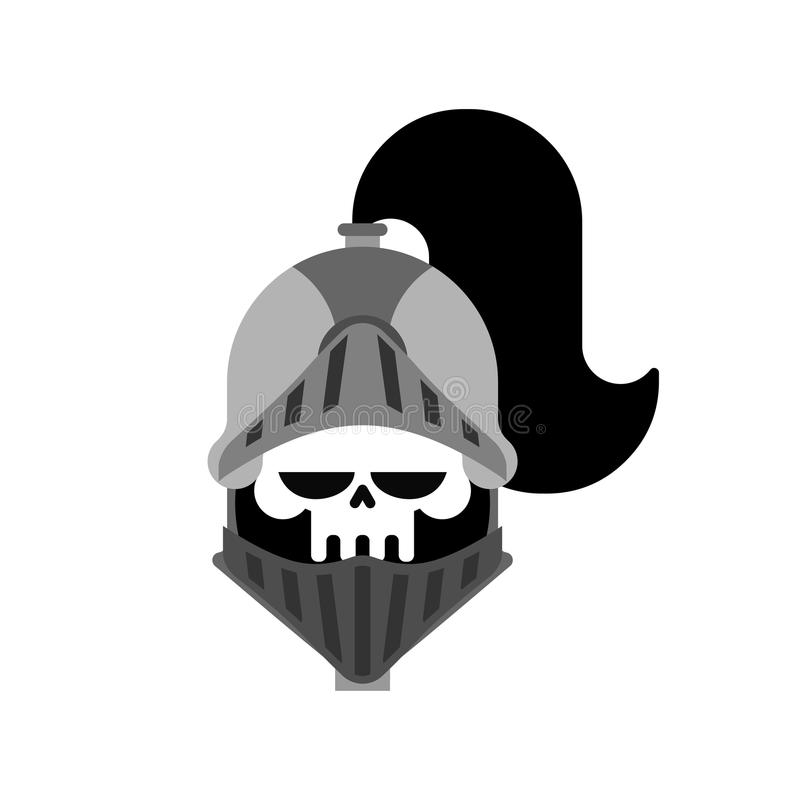 被隔绝的骑士头骨 金属装甲战士 铁装甲 向量 库存例证