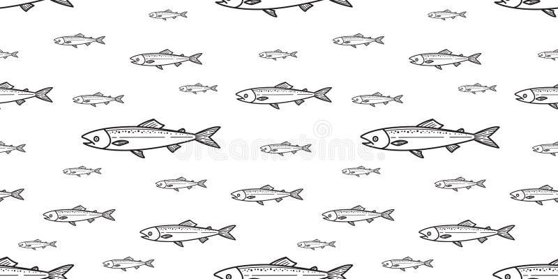 被隔绝的鱼无缝的样式三文鱼传染媒介飞翅鲨鱼鲸鱼海豚海浪瓦片背景重复墙纸 库存例证