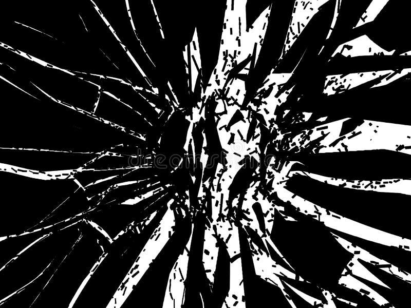 被隔绝的黑玻璃被打碎的或捣毁的片断 皇族释放例证