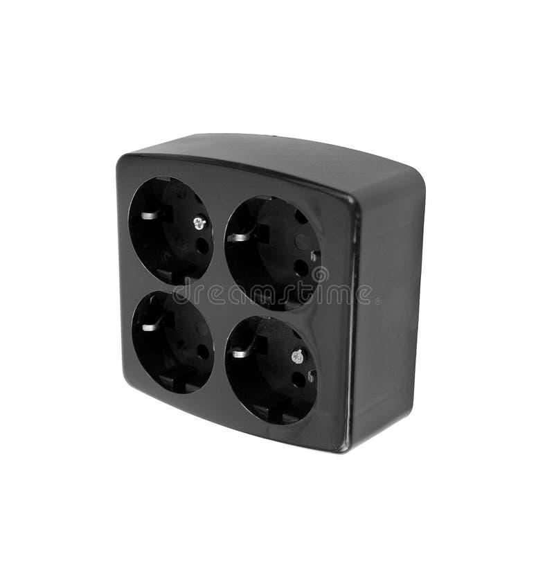 被隔绝的黑电适配器 免版税库存照片