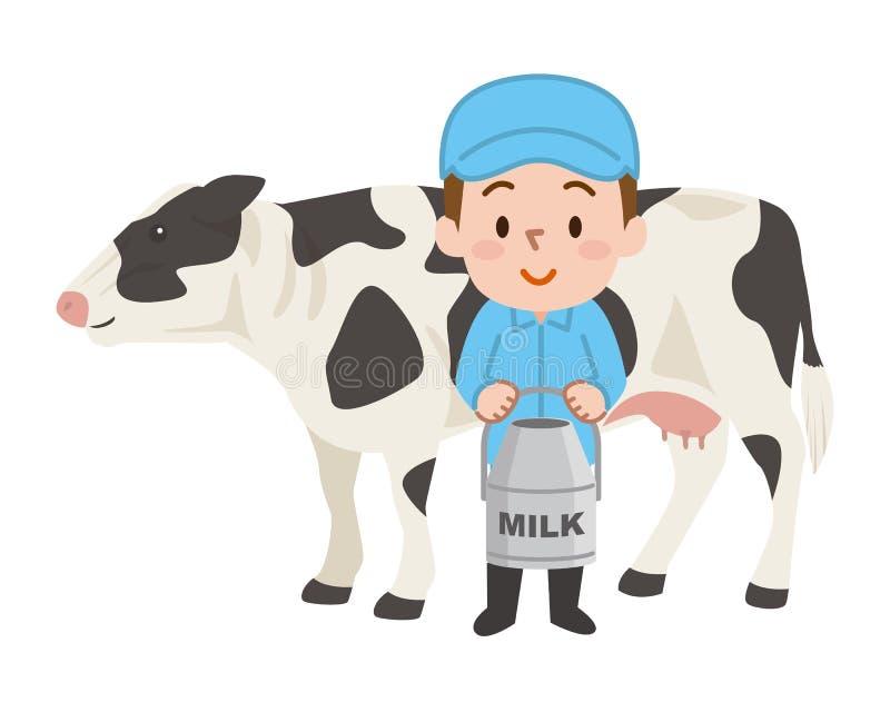 被隔绝的黑白母牛 乳牛场场主 库存例证