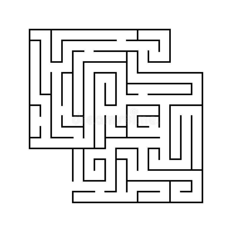 被隔绝的黑迷宫,迷宫在白色背景的起点复杂 库存例证