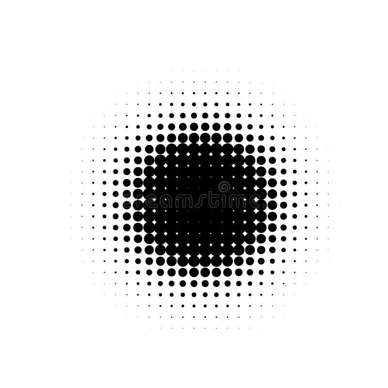 被隔绝的黑颜色摘要圆形中间影调被加点的动画片漫画弄脏背景,小点装饰元素 皇族释放例证