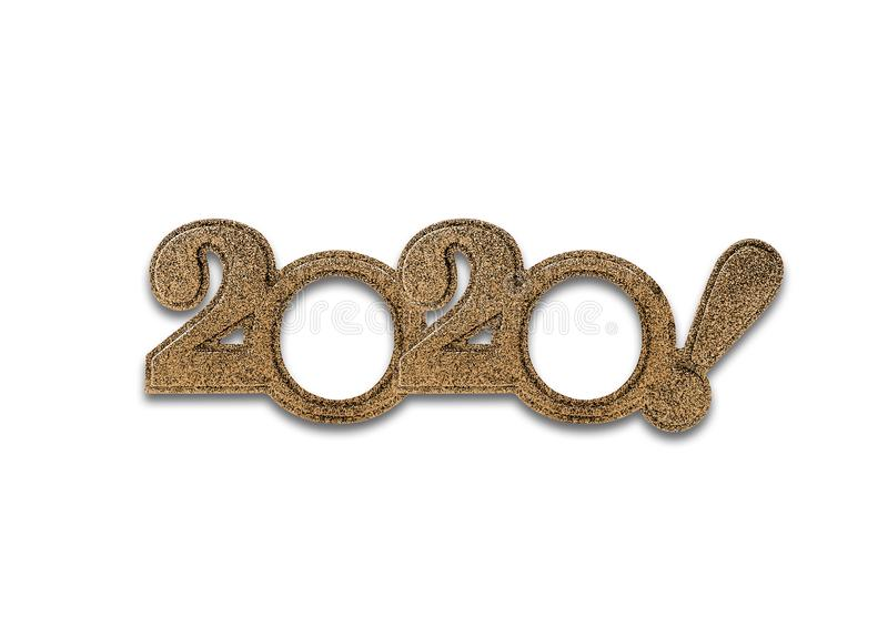 被隔绝的2020个数字 二千个和第二十个新年 免版税库存照片