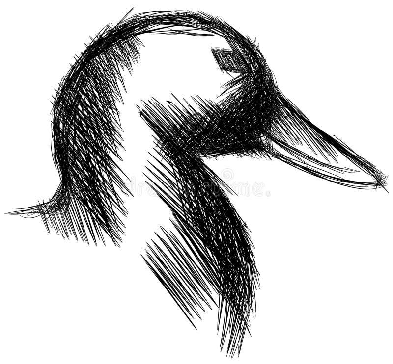 被隔绝的一只风格化鸭子的剪影 库存例证