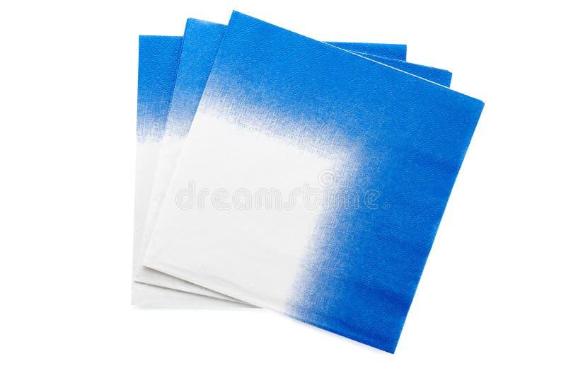 被隔绝的三块蓝色白色papper餐巾 库存图片