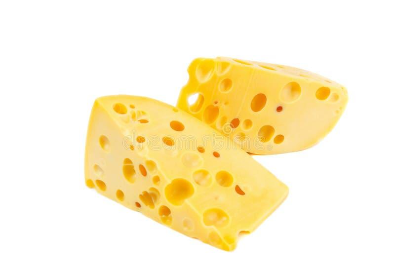 被隔绝的乳酪两个片断 免版税图库摄影