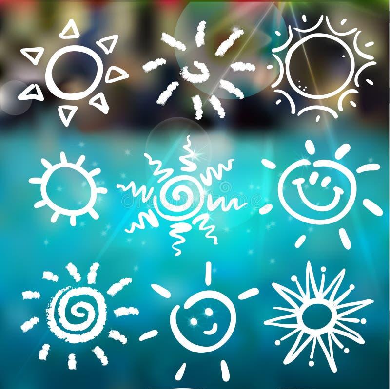 被隔绝的传染媒介套不同的太阳,手拉的例证 向量例证