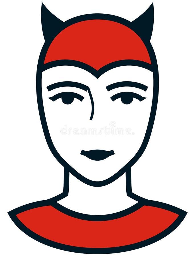 被隔绝的传染媒介妇女恶魔面孔简单的例证 向量例证