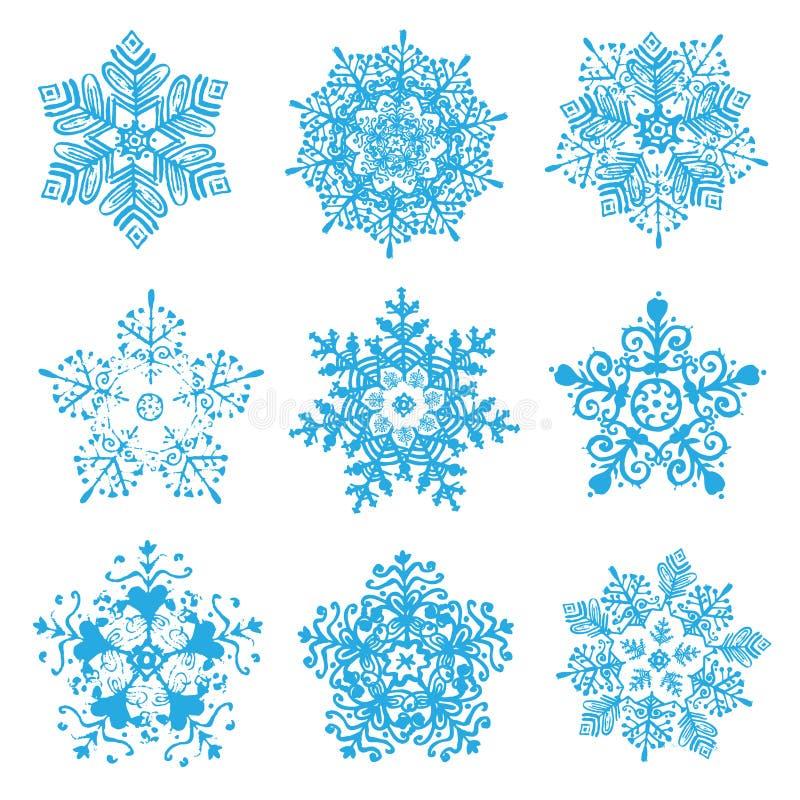 被隔绝的传染媒介手拉的雪花剪影 向量例证