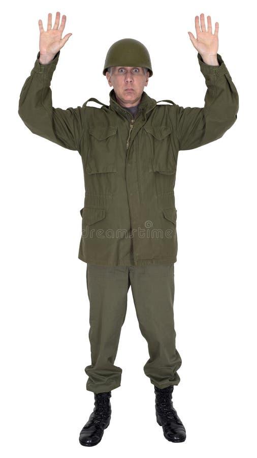 被隔绝的军队军事战士投降 免版税库存照片
