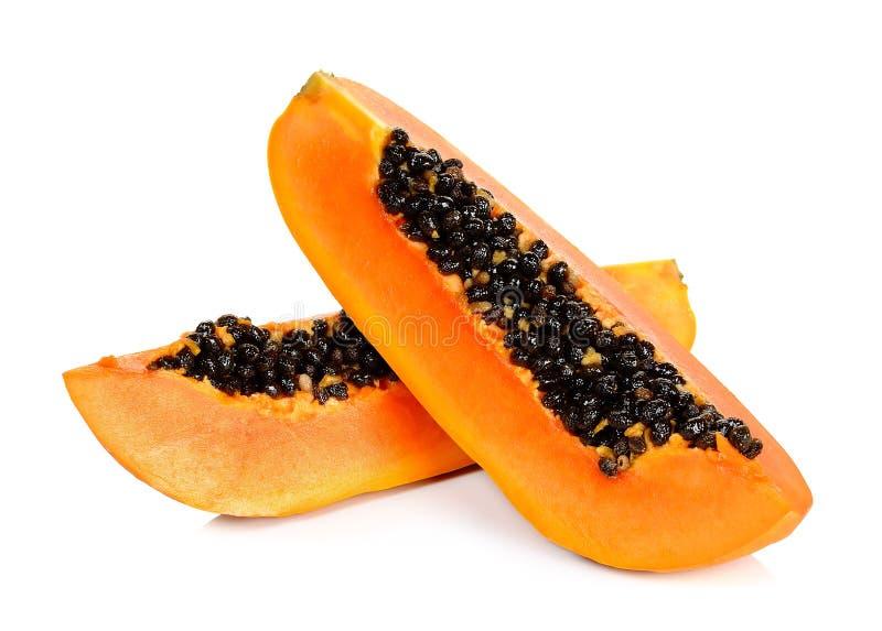 被隔绝的切的成熟番木瓜 图库摄影