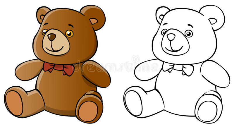 被隔绝的动画片玩具熊和着色 库存照片