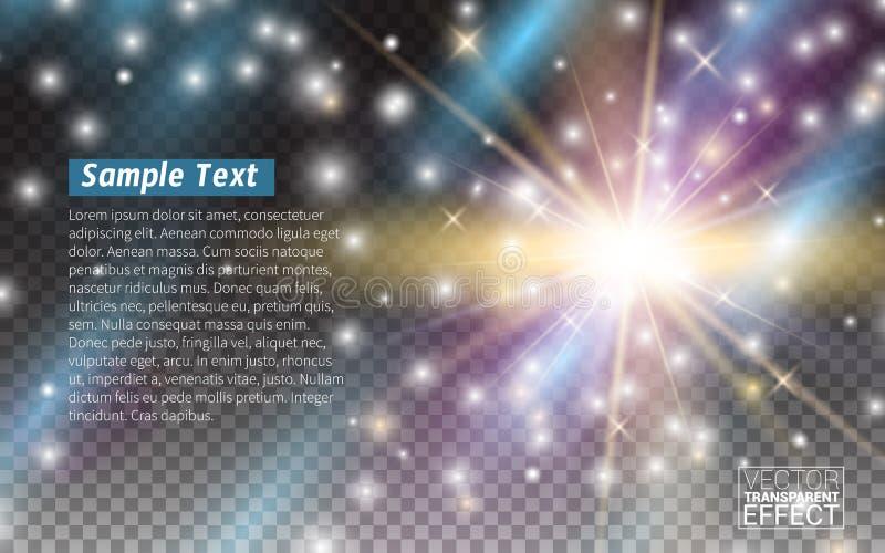 被隔绝的发光的光线影响对透明不可思议的作用现实设计元素 也corel凹道例证向量 库存例证