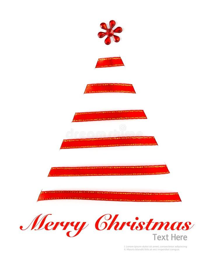 从被隔绝的发光的红色丝带的圣诞树 库存照片
