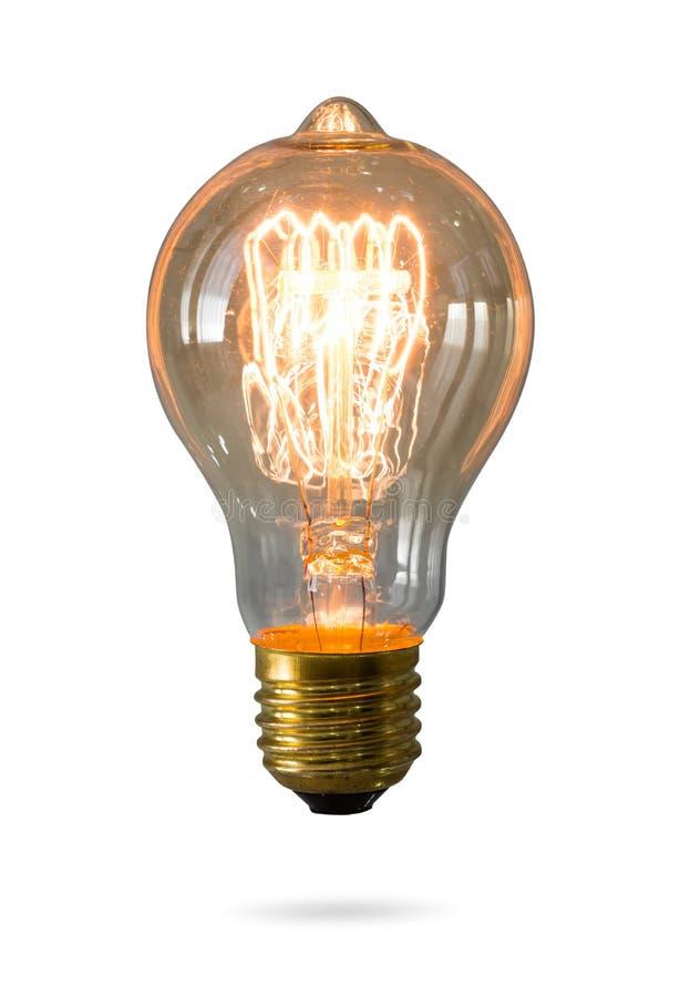 被隔绝的发光的黄灯电灯泡 库存照片