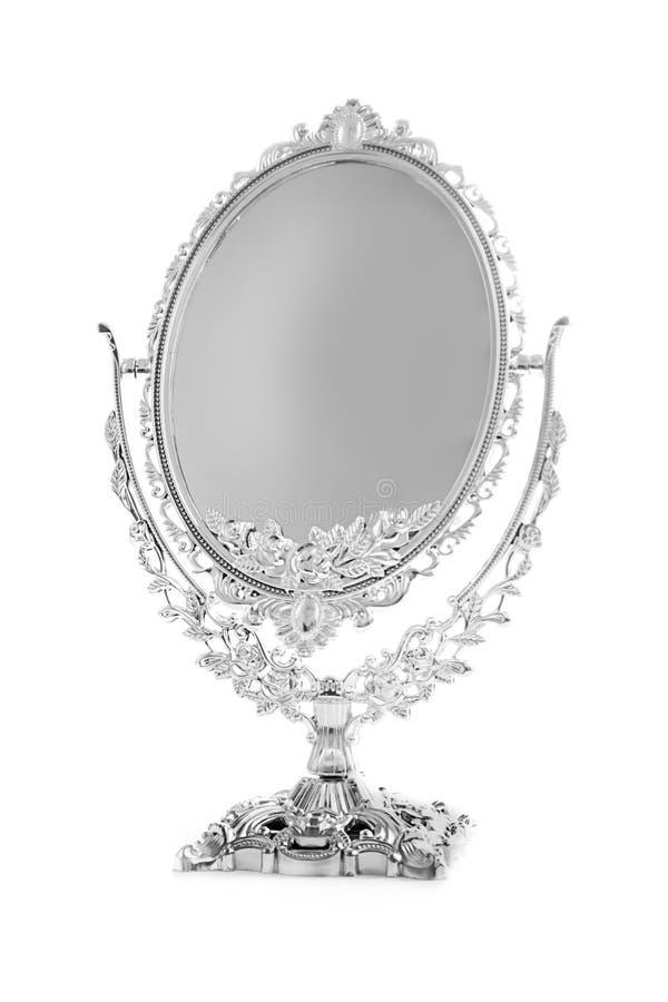被隔绝的古色古香的银色镜子 免版税库存照片