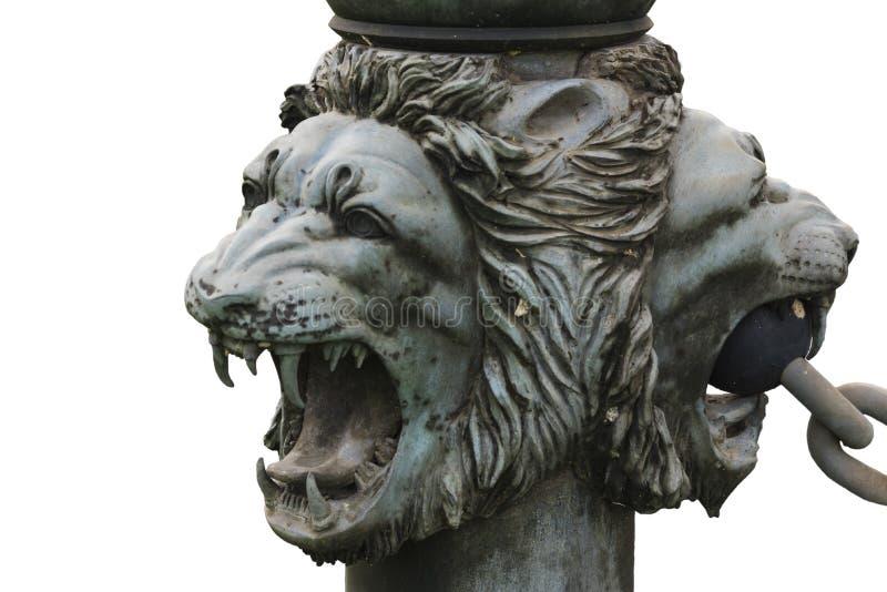 被隔绝的古铜色狮子的头 库存照片