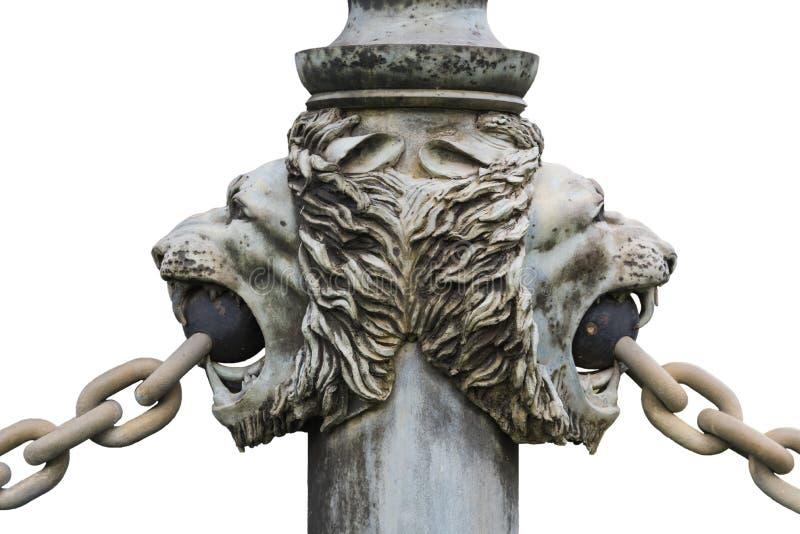 被隔绝的古铜色狮子的头 免版税库存照片