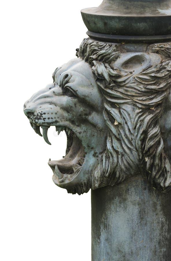 被隔绝的古铜色狮子的头 图库摄影