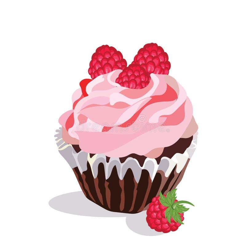 被隔绝的可口莓杯形蛋糕 库存例证
