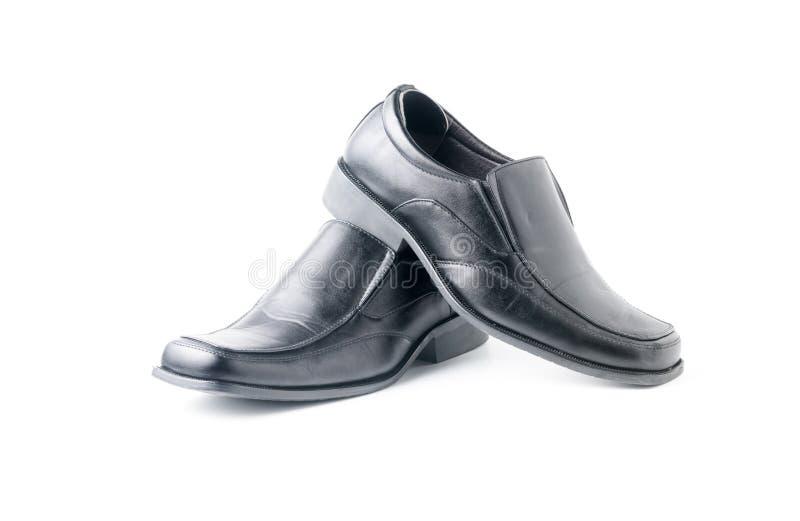 被隔绝的商人` s黑皮鞋 免版税库存照片