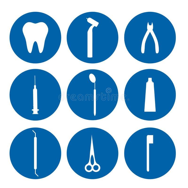 被隔绝的商标牙齿工具 牙医关心和药物治疗 口腔医学集合 免版税库存照片
