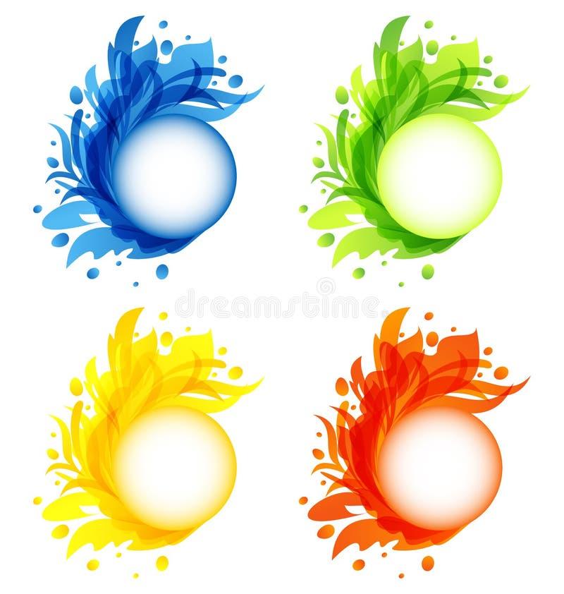 被隔绝的四个季节性华丽五颜六色的框架 皇族释放例证
