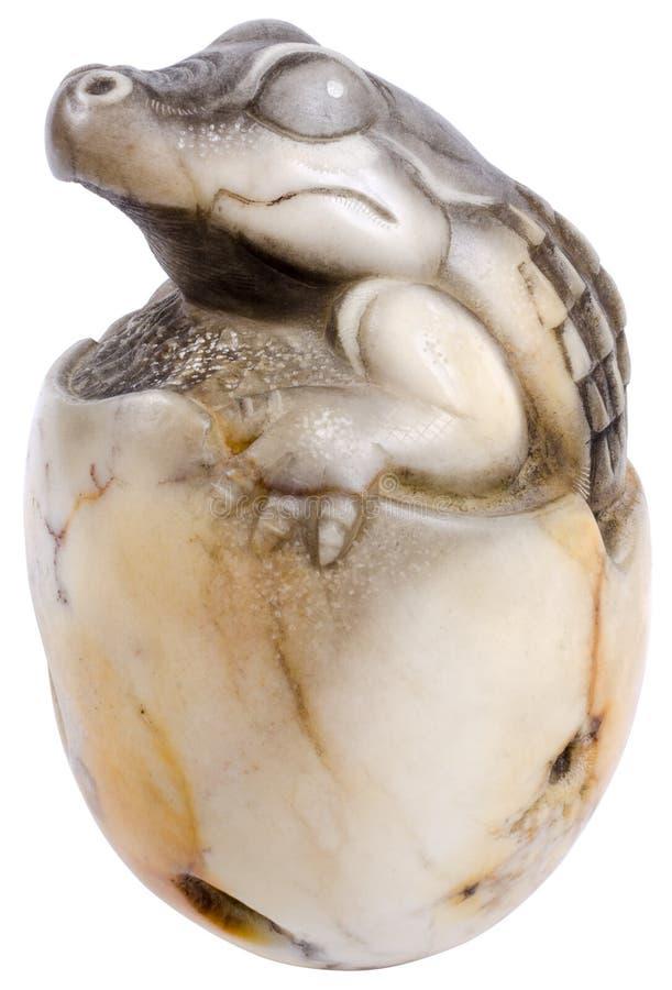 被隔绝的图石头鳄鱼 图库摄影