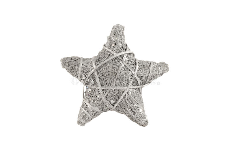被隔绝的圣诞节柳条银色星 免版税库存图片