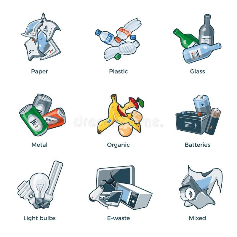 被隔绝的垃圾回收废物类别类型 向量例证