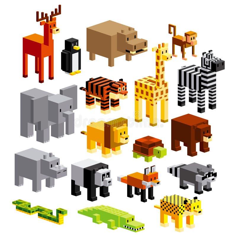 被隔绝的套不同的动画片动物 皇族释放例证