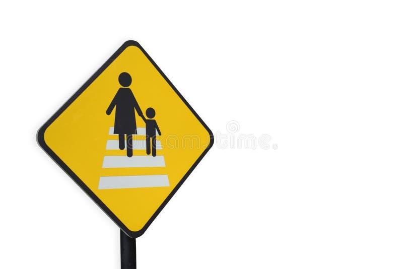被隔绝的小心人横渡的交通标志 免版税库存照片