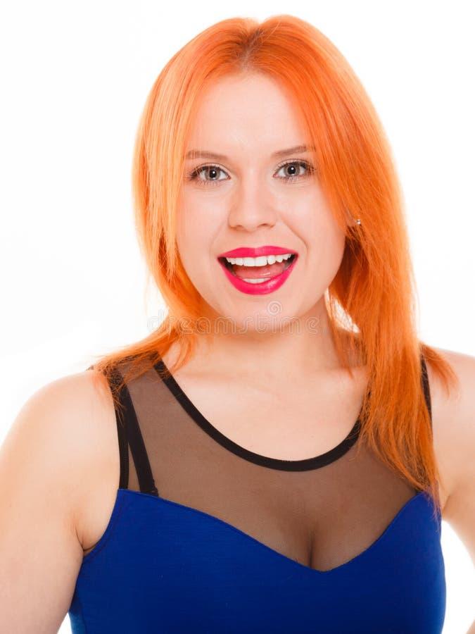 被隔绝的少妇红色头发女孩画象 库存照片