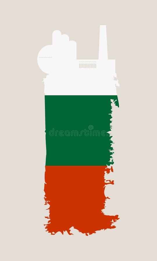 被隔绝的工厂象和难看的东西刷子 可用的保加利亚标志玻璃样式向量 向量例证