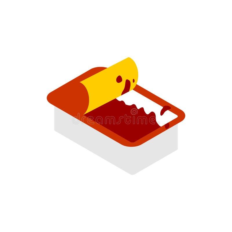 被隔绝的开放番茄酱垂度组装 快餐的调味汁在白色ba 皇族释放例证