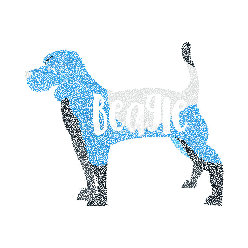 被隔绝的形成圆的微粒小猎犬狗 向量例证