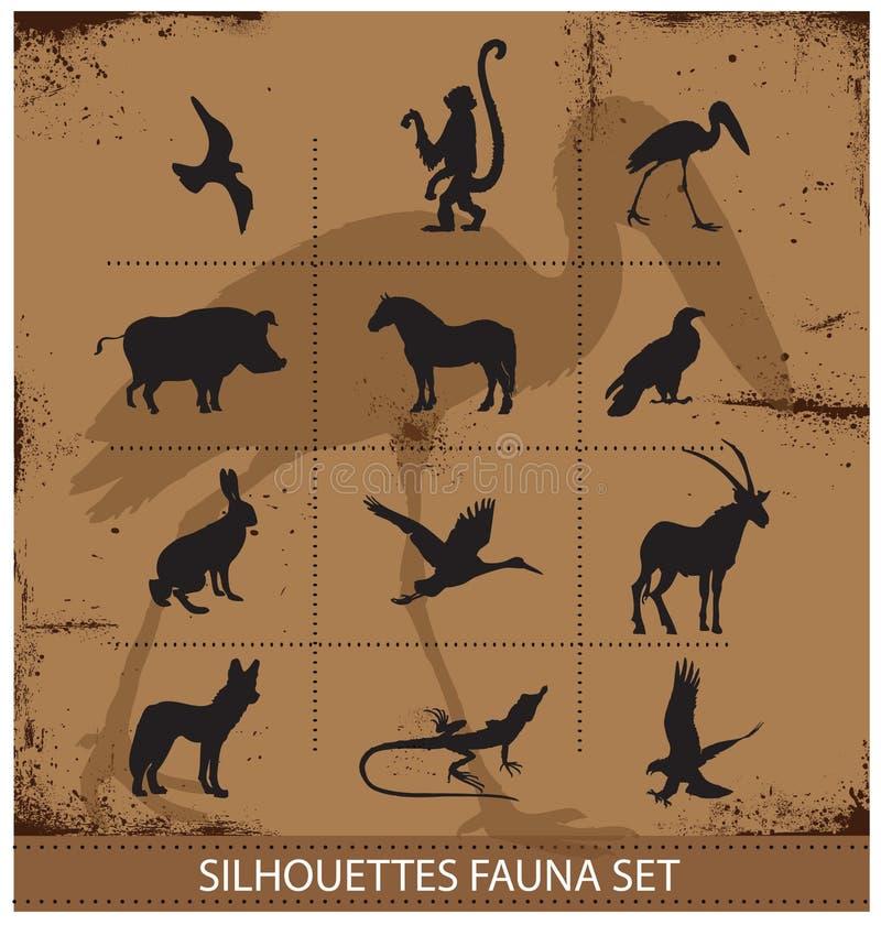 徒步旅行队动物区系标志剪影集合收藏 库存照片