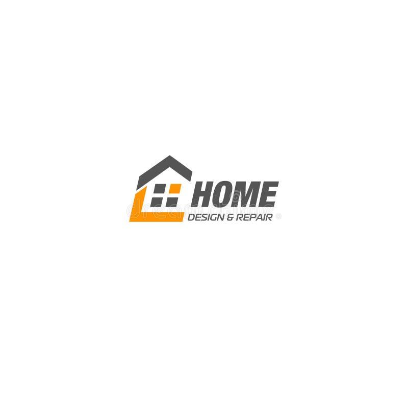 被隔绝的房地产代理业务商标,在白色背景,家庭概念象,旅馆传染媒介的房子略写法 库存例证