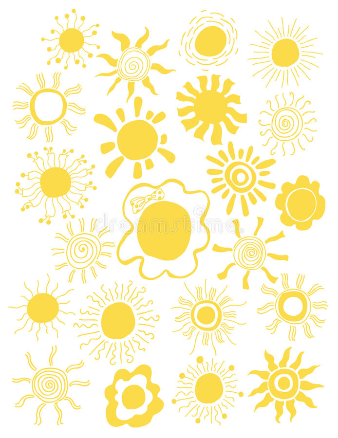 被隔绝的手拉的套不同的太阳 也corel凹道例证向量 设计要素例证离开向量 库存例证