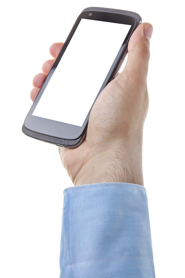 被隔绝的手智能手机商人黑屏 免版税库存图片