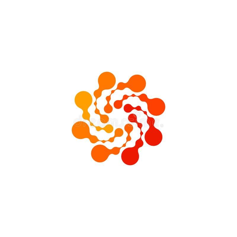 被隔绝的抽象圆形橙色颜色商标,在白色背景,漩涡传染媒介的被加点的风格化太阳略写法 库存例证