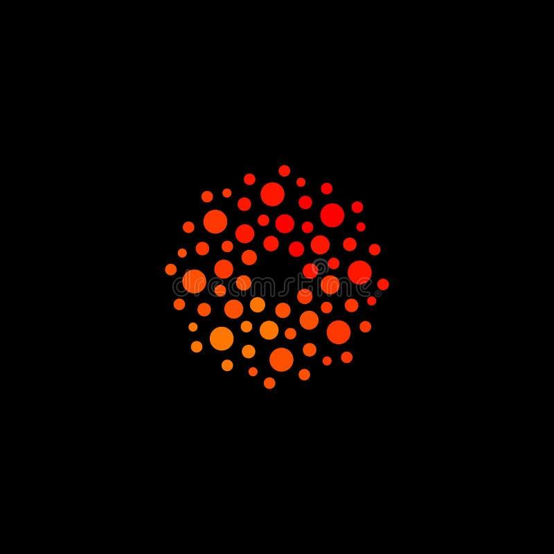 被隔绝的抽象圆形橙色颜色商标,在黑背景传染媒介例证的被加点的风格化太阳略写法 向量例证
