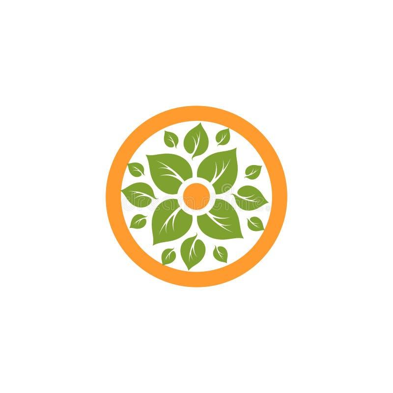 被隔绝的抽象圆形自然商标 在橙色圈子略写法的绿色叶子 背景花图标例证集合向量白色 Eco产品标志 库存照片